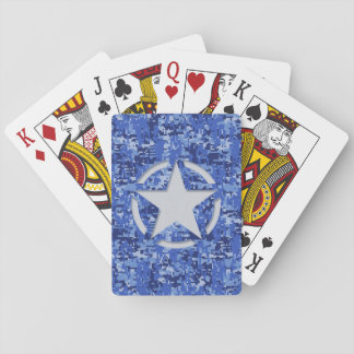 Star Stencil Vintage Navy Blue Digital Camo Playing Cards
