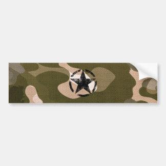 Star Stencil Vintage on Camouflage Bumper Sticker