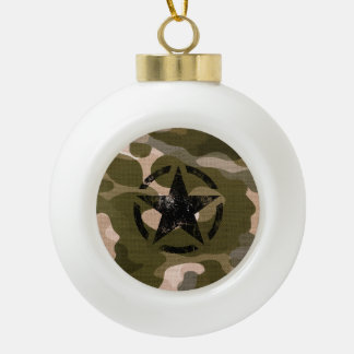 Star Stencil Vintage on Camouflage Ceramic Ball Christmas Ornament