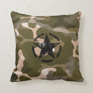 Star Stencil Vintage on Camouflage Cushion
