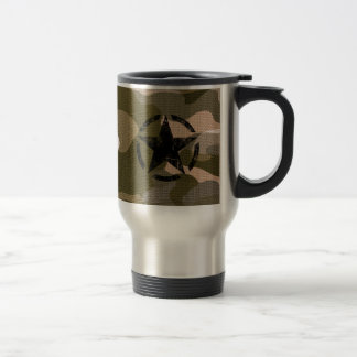 Star Stencil Vintage on Camouflage Travel Mug