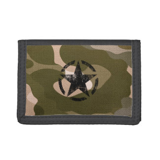 Star Stencil Vintage on Camouflage Trifold Wallet