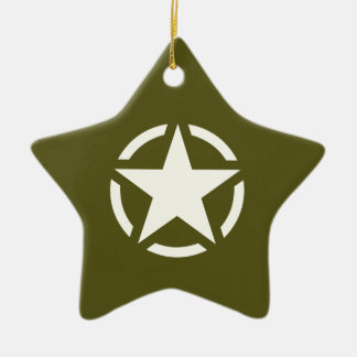 Star Stencil Vintage on Khaki Green Ceramic Star Decoration