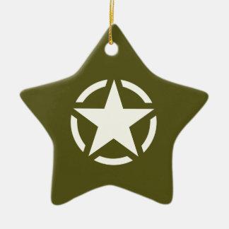 Star Stencil Vintage on Khaki Green Christmas Ornament