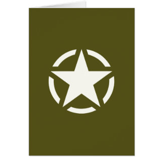 Star Stencil Vintage on Khaki Green Greeting Card