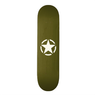 Star Stencil Vintage on Khaki Green Skate Board Decks