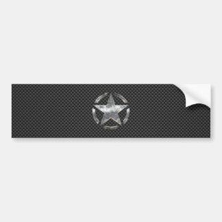 Star Stencil Vintage Tag Carbon Fiber Style Bumper Sticker