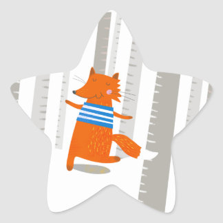 Star Sticker, Cute Fox Star Sticker
