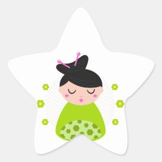 Star sticker with Geisha / green