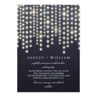 Star String Lights Dark Blue Evening Wedding Card