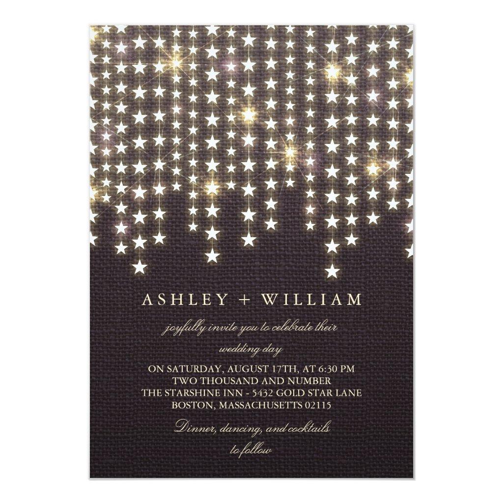 Star String Lights Dark Burlap Evening Wedding Card