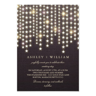 Star String Lights Dark Burlap Evening Wedding Card