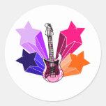 Star Struck Guitar Round Sticker