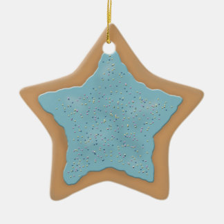 Star Sugar Cookie with Blue Icing Christmas Ornament