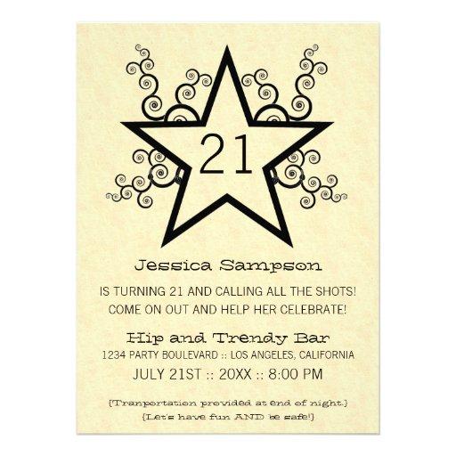 Star Swirls 21st Birthday Party Invitation, Black