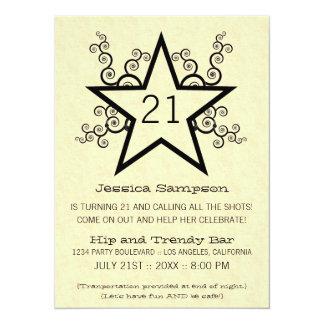 "Star Swirls 21st Birthday Party Invitation, Black 5.5"" X 7.5"" Invitation Card"
