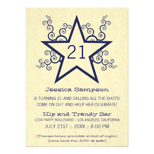 Star Swirls 21st Birthday Party Invitation, Blue