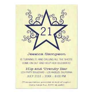 Star Swirls 21st Birthday Party Invitation, Blue 14 Cm X 19 Cm Invitation Card