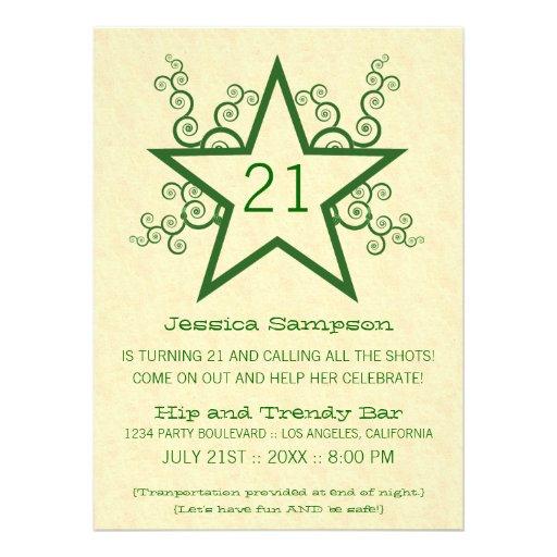 Star Swirls 21st Birthday Party Invitation, Green