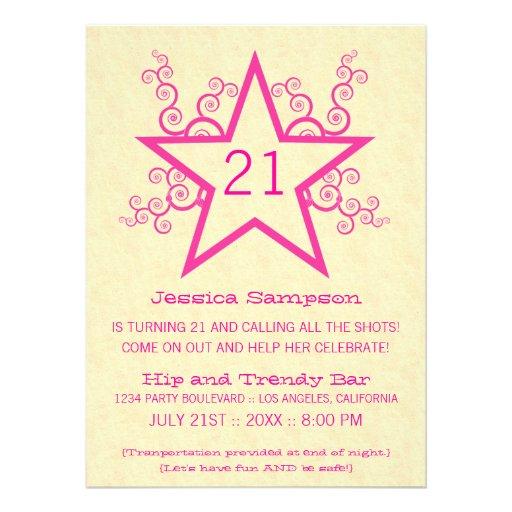 Star Swirls 21st Birthday Party Invitation, Pink