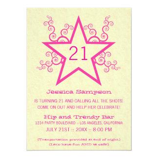 Star Swirls 21st Birthday Party Invitation, Pink 14 Cm X 19 Cm Invitation Card