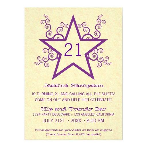 Star Swirls 21st Birthday Party Invitation, Purple
