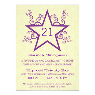 Star Swirls 21st Birthday Party Invitation, Purple 14 Cm X 19 Cm Invitation Card