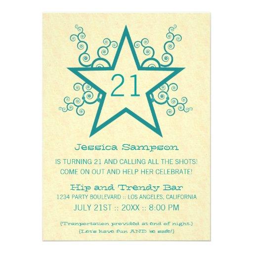 Star Swirls 21st Birthday Party Invitation, Teal