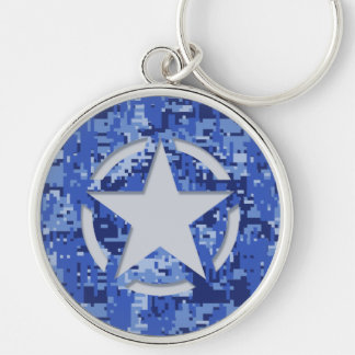 Star Tag Decal Navy Blue Camo Key Ring