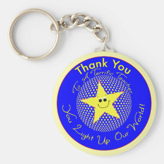 Star Teacher Thank You From Class Basic Round Button Key Ring
