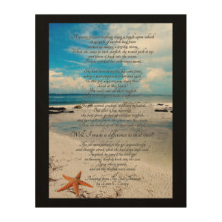 Star thrower text on beach background wood print