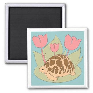 Star Tortoise Magnet (tulips blue)