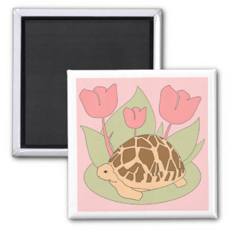 Star Tortoise Magnet (tulips pink)