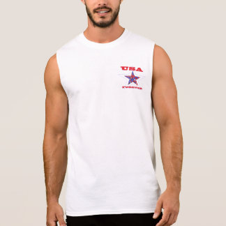 Star USA Forever Patriotic Tee~ Red White & Blue Sleeveless Shirt