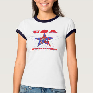 Star USA Forever Patriotic Tee~ Red White & Blue Tee Shirt