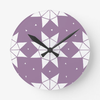 Star Wheels in Mauve Round Clock