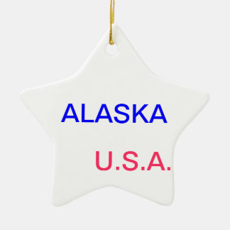 Star with alaska and juneau on it. ceramic star decoration