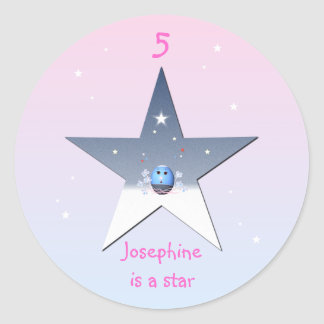 Star with Cartoon Blue Egg for Girls Sticker