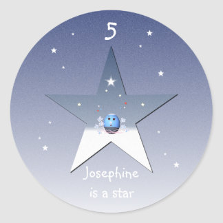 Star with Cartoon Blue Egg for Girls Stickers