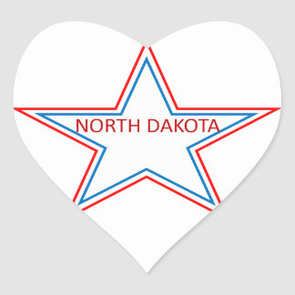Star with North Dakota in it. Heart Sticker