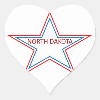 Star with North Dakota in it. Heart Sticker