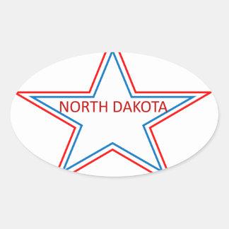 Star with North Dakota in it. Oval Sticker