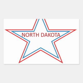 Star with North Dakota in it. Rectangular Sticker