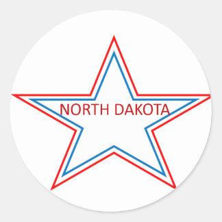 Star with North Dakota in it. Round Sticker