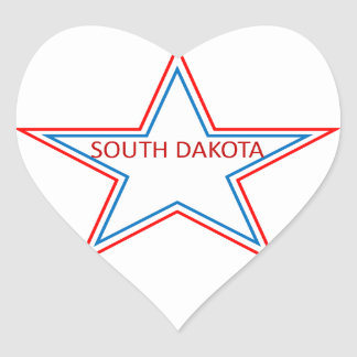 Star with South Dakota in it. Heart Sticker