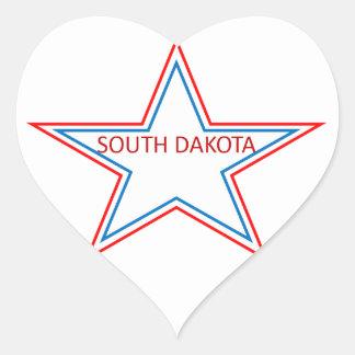 Star with South Dakota in it. Heart Sticker