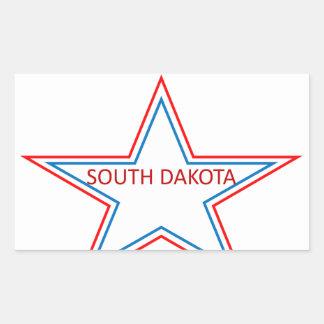 Star with South Dakota in it. Rectangular Sticker