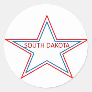 Star with South Dakota in it. Round Sticker