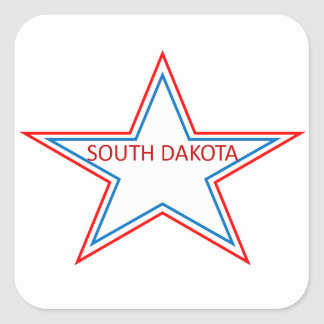 Star with South Dakota in it. Square Sticker