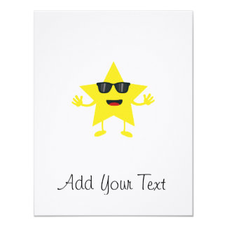 star with sunglasses 11 cm x 14 cm invitation card
